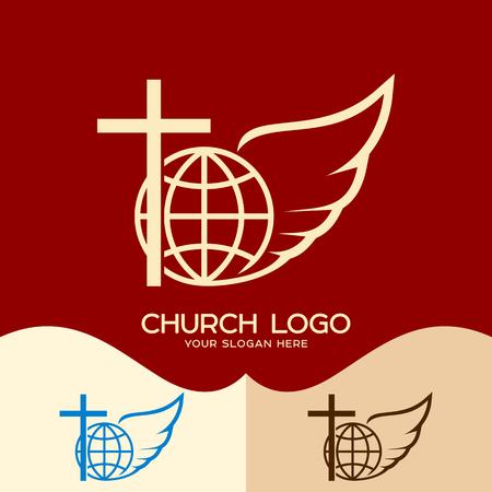Church logo. Cristian symbols. Cross of Jesus, globe and angel wing