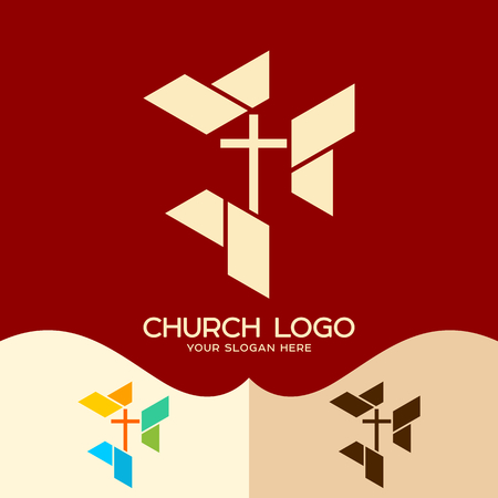 Church logo. Cristian symbols. Cross of the Lord and Savior Jesus Christ