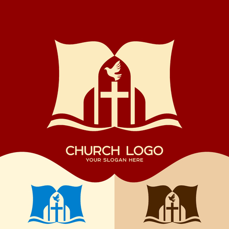Church logo. Cristian symbols. The cross of Jesus, the open bible and the dove - a symbol of the Holy Spirit
