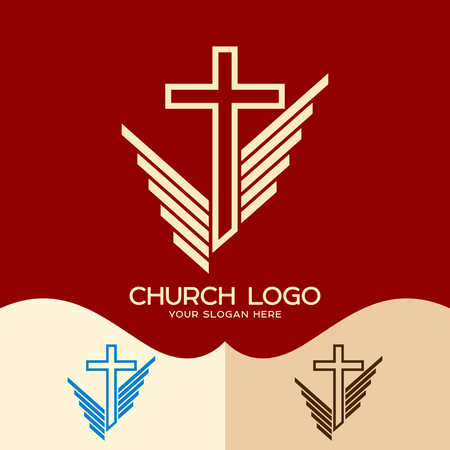Church logo. Cristian symbols. The cross of Jesus and the symbolic wings