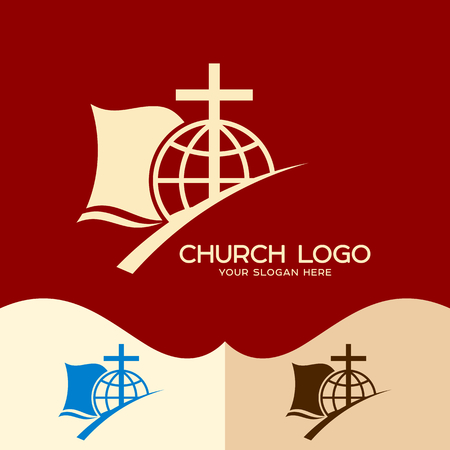 Church logo. Cristian symbols. The Cross of Jesus, the Bible and the Globe