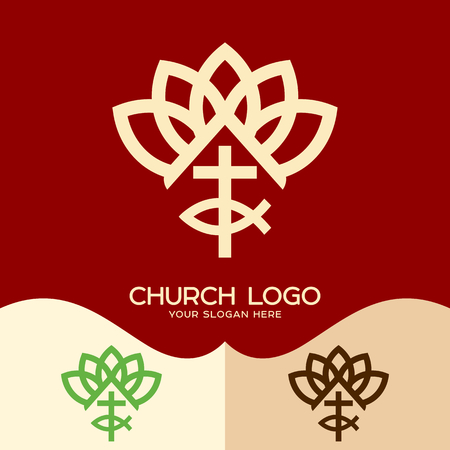 Church logo. Cristian symbols. The cross of Jesus and the sign of fish, plant elements