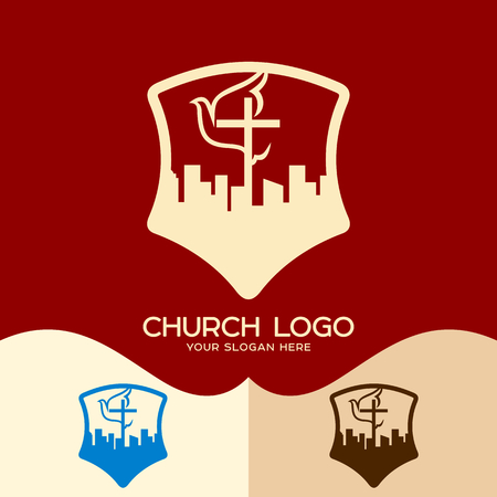 Church logo. Cristian symbols. The cross of Jesus, the dove and the city