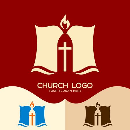 Church logo. Cristian symbols. The Bible and the Cross