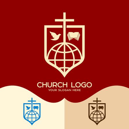 Church logo. Cristian symbols. Cross of Jesus, the Bible, the dove and the globe