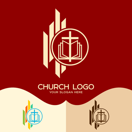 Church logo. Cristian symbols. The Cross of Jesus and the Bible