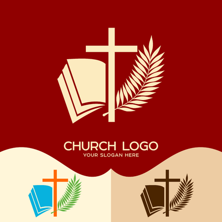 Church logo. Cristian symbols. Cross of Jesus, open bible and palm branch