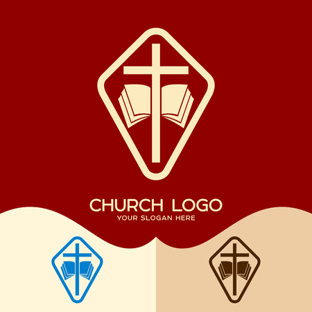 Church logo. Cristian symbols. The cross of Jesus and the open bible