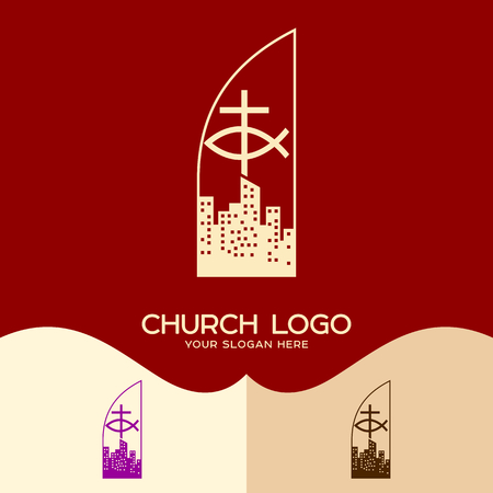 Church logo. Cristian symbols. The cross of Jesus, the sign of the fish and the city