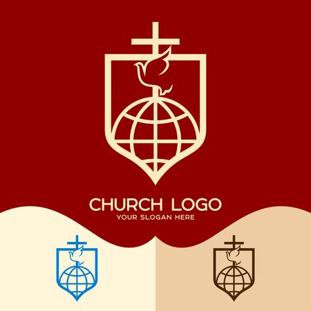 Church logo. Cristian symbols. Cross, dove and globe