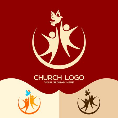 Church logo. Cristian symbols. The Holy Spirit and people Ilustração
