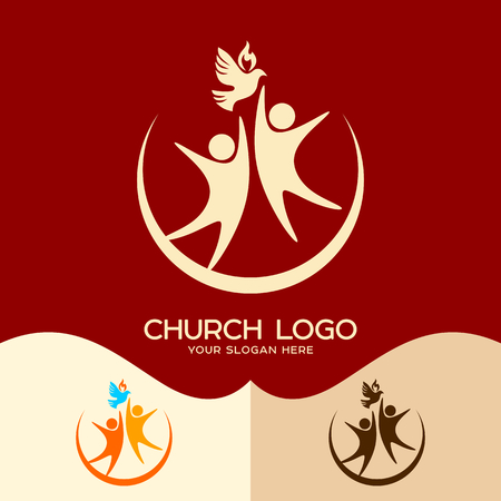 Church logo. Cristian symbols. The Holy Spirit and people Illustration