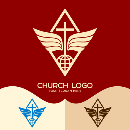 Church logo. Cristian symbols. The cross of Jesus, the globe and wings
