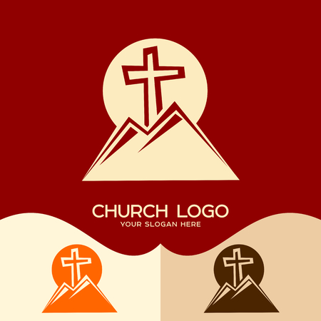 Church logo. Cristian symbols. Cross of Jesus and mountains Illustration