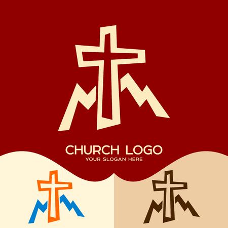 Church logo. Cristian symbols. Cross of Jesus and mountains Ilustração