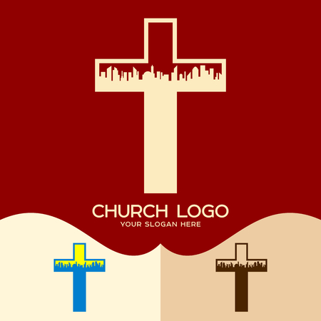 Church logo. Cristian symbols. The cross of Jesus and the city