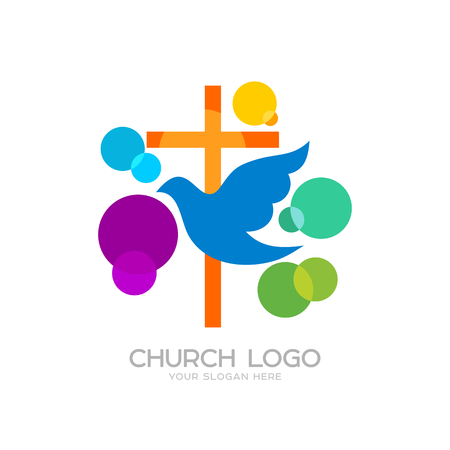 Church logo. Cristian symbols. The cross of Jesus and the dove, colored circles Illustration
