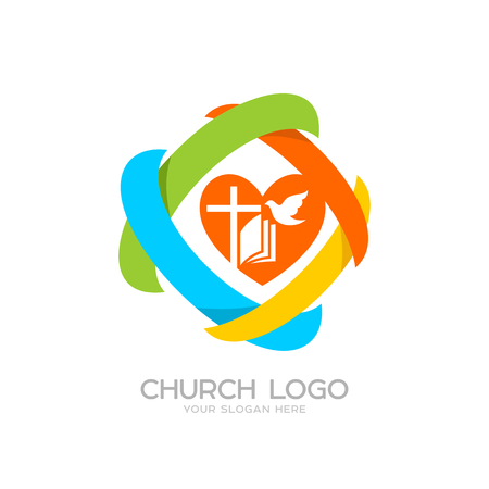 Church logo. Cristian symbols. Jesus cross, bible, dove, heart and colored elements Illustration