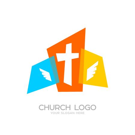 Church logo. Cristian symbols. The cross of Jesus and wings Ilustração