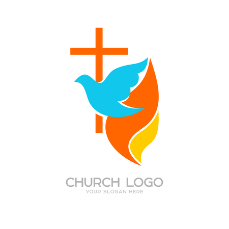 Church logo. Cristian symbols. The cross of Jesus, the dove and the flame