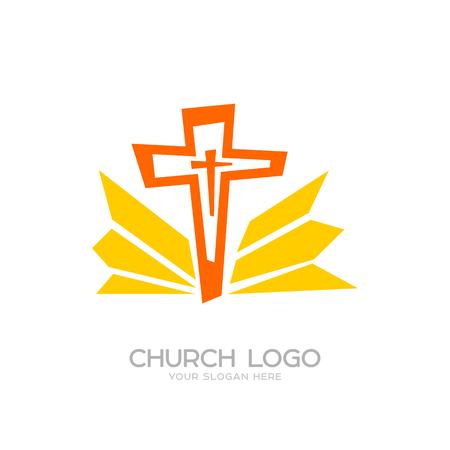 Church logo. Cristian symbols. The Cross of Jesus and the Rays Ilustração