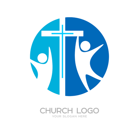 Church logo. Cristian symbols. The cross of Jesus and his church