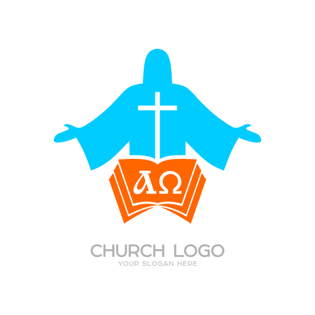 Church logo. Cristian symbols. Jesus Christ, the bible and the letters alpha and omega Stock Illustratie