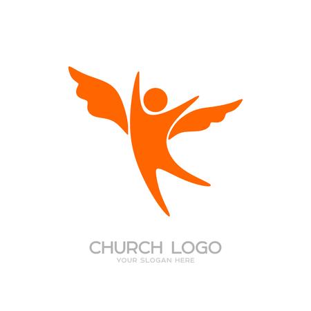 Church logo. Cristian symbols. Angel with wings Ilustração