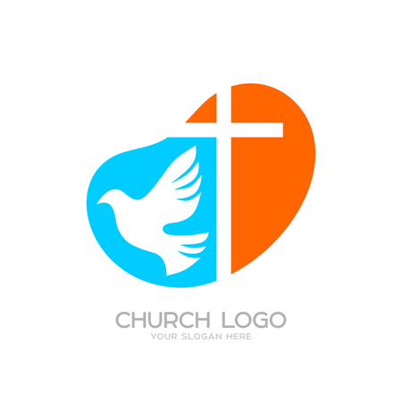 Church logo. Cristian symbols. The cross of Jesus and the dove Ilustração