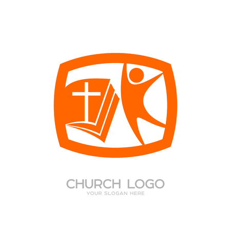 Church logo. Cristian symbols. The Bible, the cross of Jesus and man Illustration