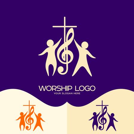 Worship logo. Cristian symbols. Cross, musical note and worshiping Jesus
