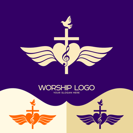 Worship logo. Cristian symbols. Cross of Jesus, heart, musical note and wings Ilustração
