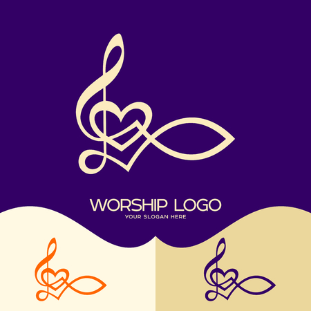 Worship logo. Cristian symbols. The Fish of Jesus and the musical note - the treble clef Reklamní fotografie - 78706333