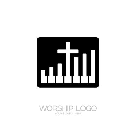 Worship logo. Cristian symbols. Cross and piano keys