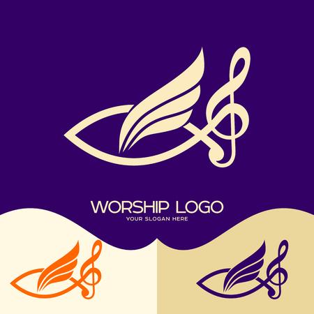 Worship logo. Cristian symbols. Jesus fish, musical note - treble clef and wing