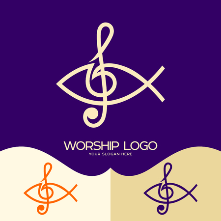 Worship logo. Cristian symbols. The Fish of Jesus and the musical note - the treble clef