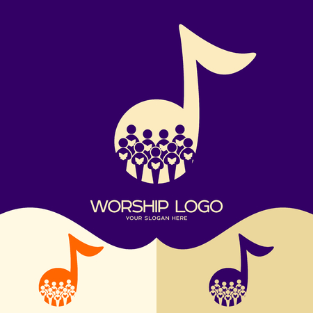 Worship logo. Cristian symbols. Choir in the background of a note