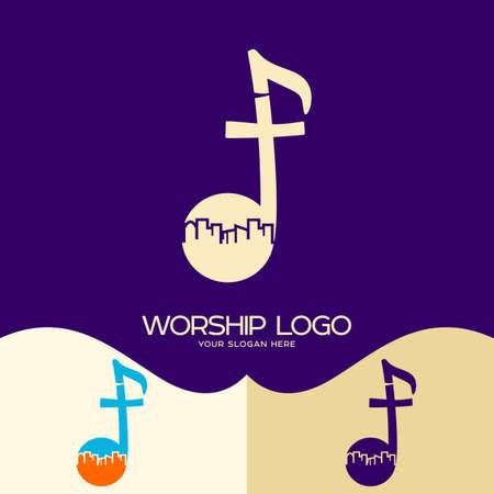 Worship logo. Cristian symbols.Cross of Jesus, musical note and city Illustration