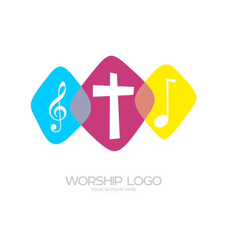 Worship logo. Cristian symbols. Worship logo. Cristian symbols. The cross of Jesus and musical notes Ilustração