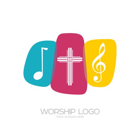 Worship logo. Cristian symbols. Worship logo. Cristian symbols. The cross of Jesus and musical notes Illustration