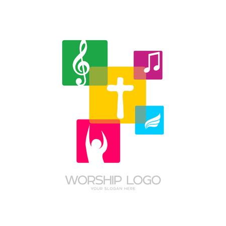 Worship logo. Cristian symbols. The cross of Jesus, musical notes and glorifying God