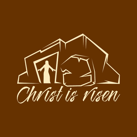 Biblical illustration. Christian lettering. Christ is risen