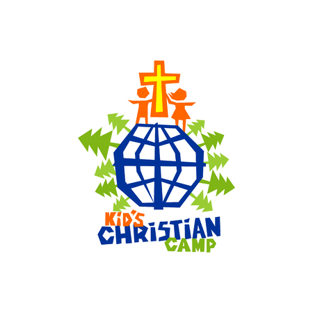 Logo of kid's Christian camp. The cross of Jesus, children and the globe - the whole world.