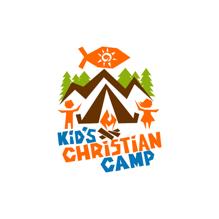pez cristiano: Logo of kids Christian camp. Jesus fish, mountains, tent, children and bonfire Vectores