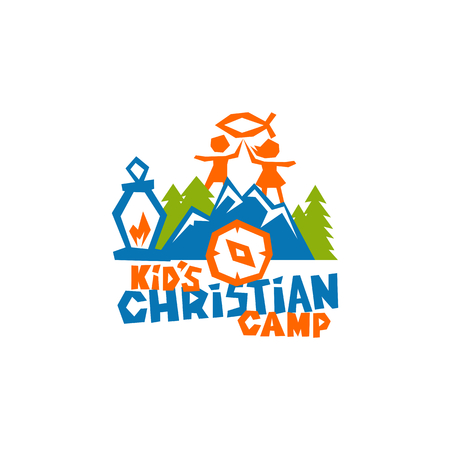 Logo of kid's Christian camp. Fish is a sign of Jesus, children, mountains and a compass.