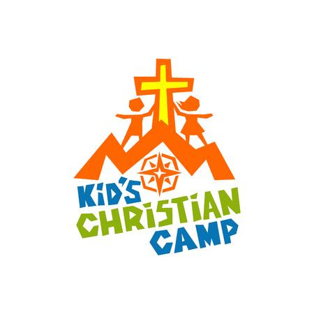 Logotipo del campamento cristiano para niños. Cruz de Jesús, hijos, montañas y brújula Foto de archivo - 79135707