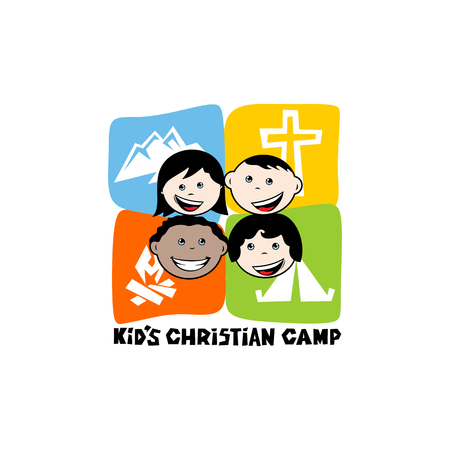 Logo of kid's Christian camp. Mountains, cross, tent, fire, kiddies