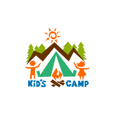 Logo of the kid's camp. Mountains, sun, tent and fire, children Ilustracja
