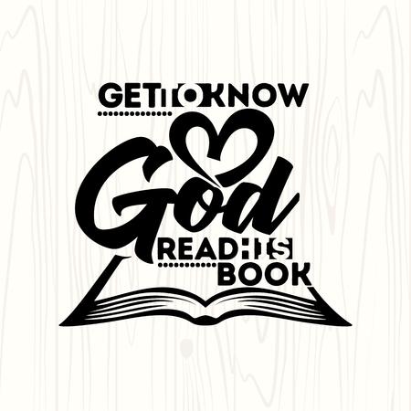 Bijbel lettering. Christelijke kunst. Leer God leren, lees zijn boek Stock Illustratie