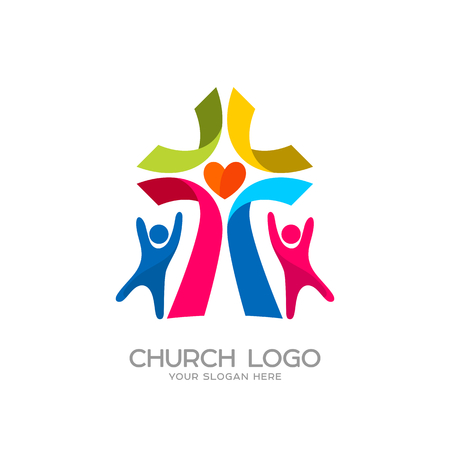 Church logo. Christian symbols. People worshiped the Lord Jesus Christ Imagens - 81895854